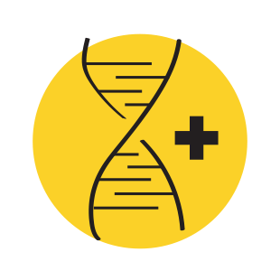 hand-drawn illustration of DNA next to a plus sign