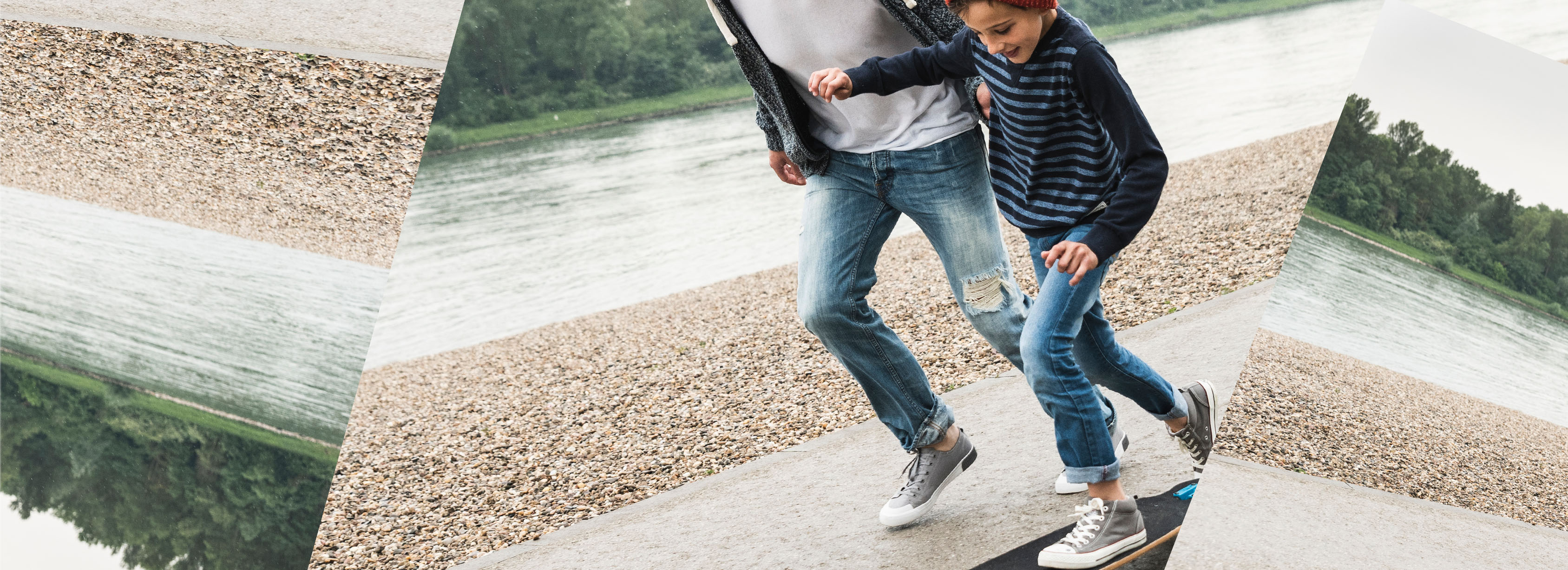 Parent running alongside young child skateboarding